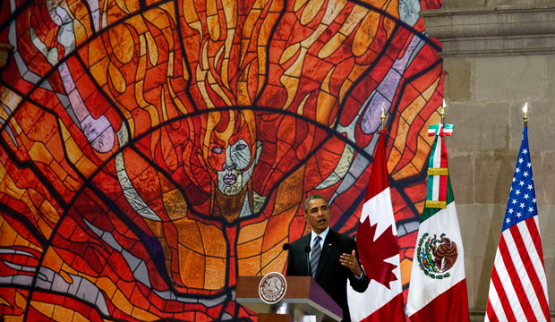 President Barack Obama speaks at a news conference after the seventh trilateral North American Leaders Summit in Toluca, Mexico, on February 19, 2014.