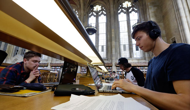 University of Washington students study in the Suzzallo Library in Seattle, April 2013.