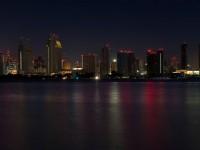A darkened San Diego skyline