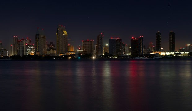 A darkened San Diego skyline