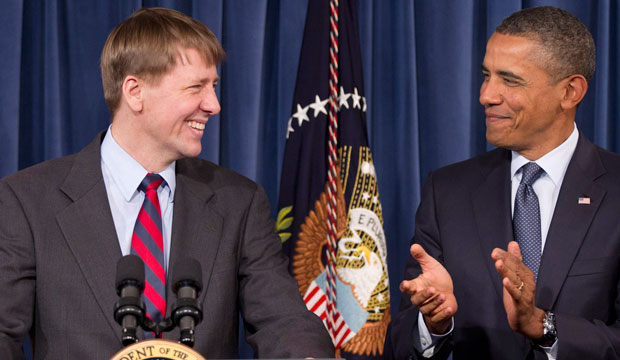 President Barack Obama visits Richard Cordray at CFPB's offices in Washington, D.C., January 2012.