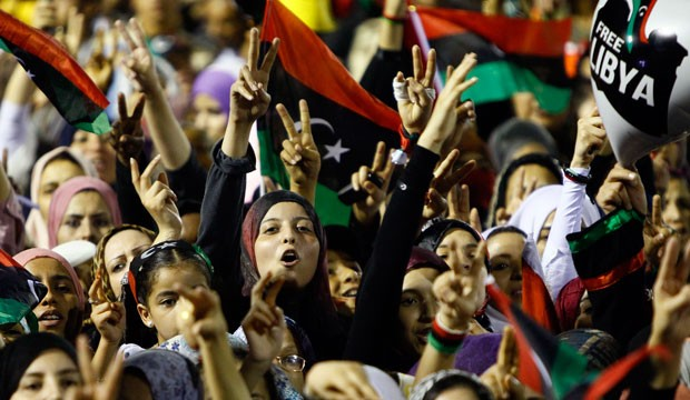 Libyan revolutionary supporters react