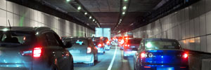Cars wait in a tunnel