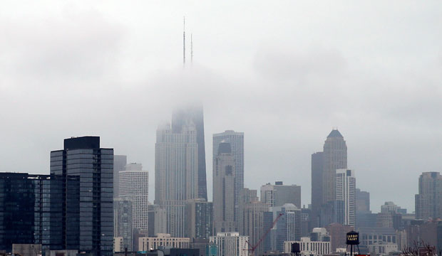 Fog covers the Chicago skyline, April 2016.