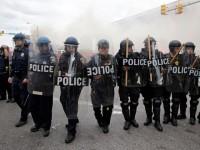 Police advance toward protestors