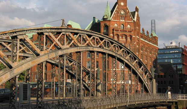 The Speicherstadt warehouse district stands in Hamburg, Germany.