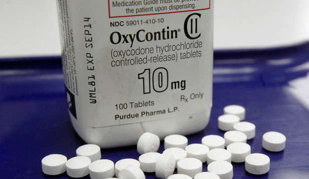 OxyContin pills are displayed at a pharmacy in Montpelier, Vermont.