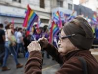 Elderly woman and LGBT pride