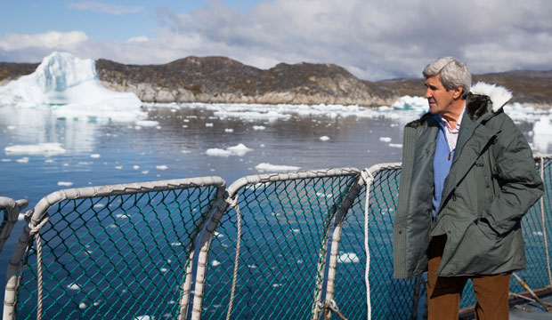 U.S. Secretary of State John Kerry visits the Jakobshavn Glacier and the Ilulissat Icefjord on June 17, 2016, in Ilulissat, Greenland.