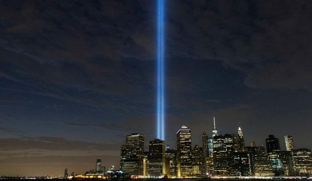 The Tribute in Light rises above the lower Manhattan skyline on September 10, 2016, in New York.