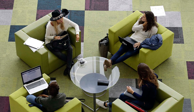 Students sit in a reading lounge at North Carolina State University, May 3, 2016.