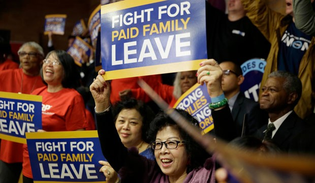 paid family leave and rally and activists