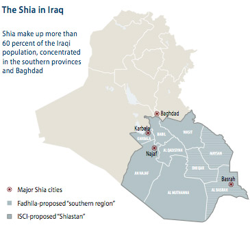 map of the Shia in Iraq