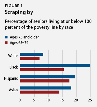 percentage of seniors living at or below 100 percent of the poverty line by race