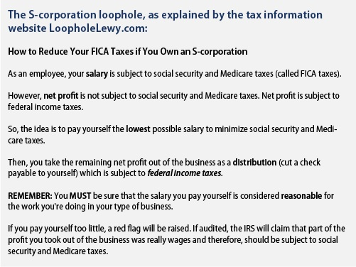 The S-corporation loophole, as explained by the tax information website LoopholeLewy.com