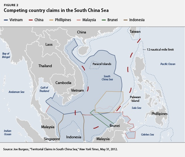 Competing country claims in the South China Sea